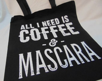 All I Need Is Coffee & Mascara Grocery Tote Bag - Farmer's Market - Books