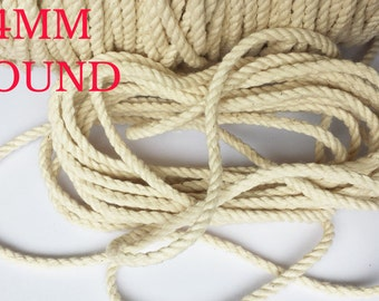 4mm  100% Natural Pure Cotton Rope 3Strand Braided Twisted Cord Twine Sash
