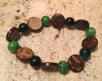 Green Quartzite Beads + Round Wood Beads