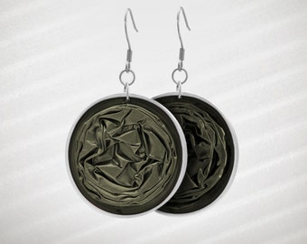 Dark-Olive-Green Earrings - Handmade recycled earrings, made of crushed Nespresso capsules.