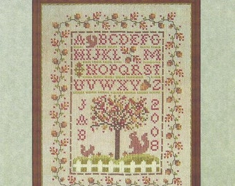 "Autumn Cross Stitch Pattern AUTUMN SAMPLER Alphabet Squirrels Fall Seasonal Sampler Design 6 1/8"" x 9.5"" - Whispered by the Wind Designs"