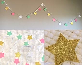 Princess Star Garland, Pink Mint Gold Garland, Felt Star Garland, Star Garland, Garland, Glitter Stars, Nursery Decor, Child's Bedroom
