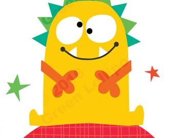 Bright Yellow Monster print