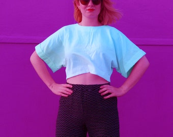 loose fitting, wide sleeved, cropped belly top- hand dyed, ice cream coloured stripes