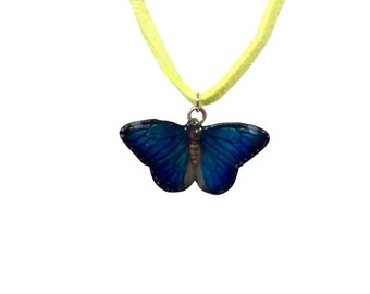 Mini ceramic butterfly necklace