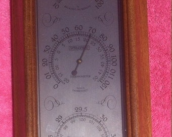 vintage springfield barometer wood with real glass in the front no plastic nautical theme weather nautical barometer weather report