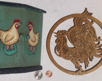 Lot of 2 Vintage Rooster and Chicken Items, Country Decor, Kitchen Decorations, Quality Wood, Country Kitchen Decorations, Vintage Roosters