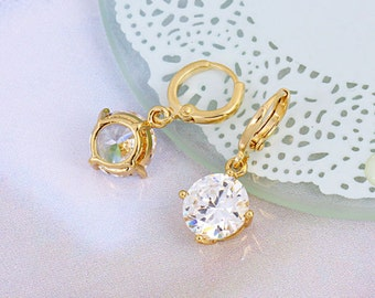 Crystal silver drop earrings (8219)