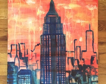 Abstract Silhouette Painting: Empire State Building