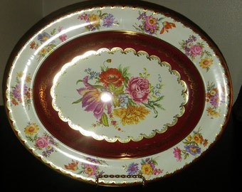 Vintage Daher Decorated Ware Oval Tin Platter