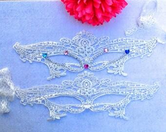Lace White mask with rhinestone decoration