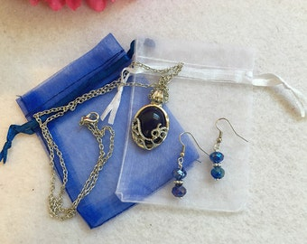 1 Set Vampire Diaries Katherine  Silver Vintage Necklace And Earring