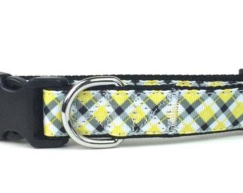 Yellow & Gray Argyle Nylon Dog Collar
