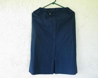 Size 5 Vintage Blue Skirt, 1970's Straight Blue Vintage Skirt, Size 5 Straight Blue Vintage Blue Skirt, 1980's Straight Blue Vintage Skirt