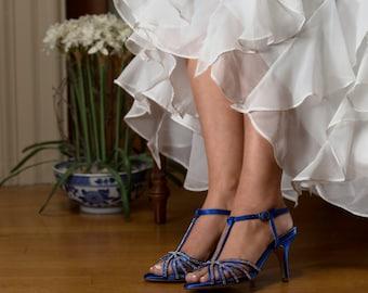Royal Blue Wedding Shoes, Bridal Shoes, Crystal Encrusted, Bridesmaids Shoes, Bridal Sandals
