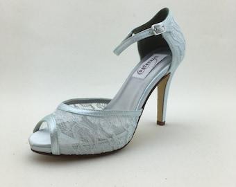 Blue Lace Wedding Shoes, Bridal Shoes, Bridesmaids Shoes, Something Blue, Bride to Be, Custom Wedding Shoes