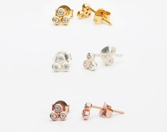 Triple cz studs - tiny gold earrings - tiny cz earrings - cluster earrings - tiny cz earrings - tiny gold earrings - tiny earrings - C18052