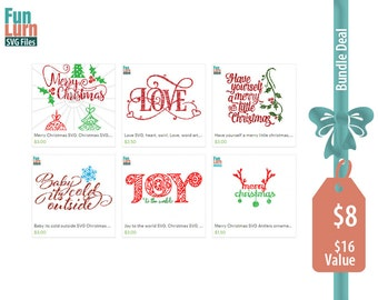 Christmas SVG Bundle 1, Merry Christmas, Love, Joy, Baby its cold outside, have yourself a merry little Christmas  SVG, DXF, Png Cut Files
