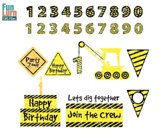 Construction Theme First Birthday Svg Graphics Cranecake
