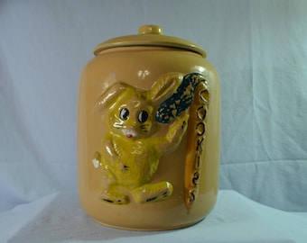 """FOR SALE:  Vintage Cookie Jar with Rabbit and Carrot that says """"Cookies"""""""