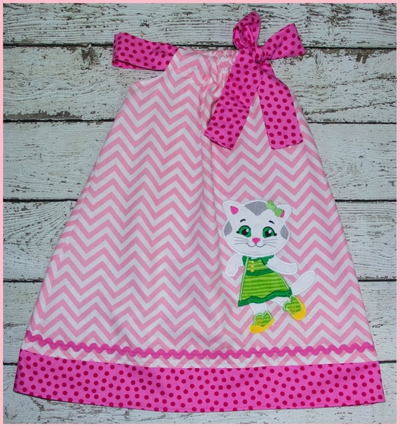 Super Cute Katerina Kitty Cat Pillowcase style dress Pink Chevron and pink polka dot