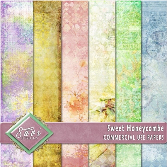 CU Commercial Use Background Papers set of 6 for Digital Scrapbooking or Craft projects SWEET HONEYCOMB, Designer Stock Papers