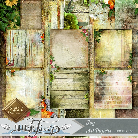 CU Commercial Use Background Papers set of 6 for Digital Scrapbooking or Craft, IVY Art Papers, Designer Stock Papers