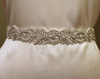 Rose-Pearl and Rhinestone Bridal Belt/Sash