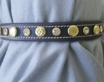 "11""-14"" Pet Collar - Swarovski Crystal Rivet & Leather"