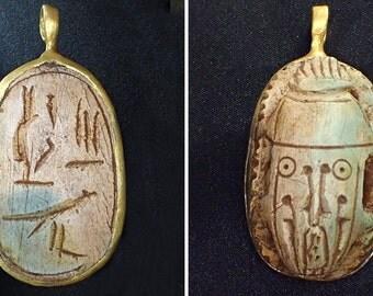 RARE EGYPTIAN Scarab Holy Script Carved Pharoah   Afterlife Gold Cap Pendant #4042