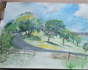 Hand painted Gouache / Nature and Trees on Side of Hill / Texas / Ft. Hood / BLORA landscape