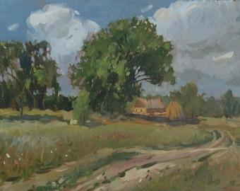 farm original oil painting landscape
