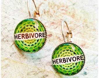 Vegan Earrings, Herbivore Earrings, Vegan Jewelry, Jewellery, Vegan gift, Gift for vegan, Custom earrings, cruelty free, vegan accesories,