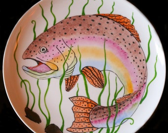Decorative fish, a plate on the wall.