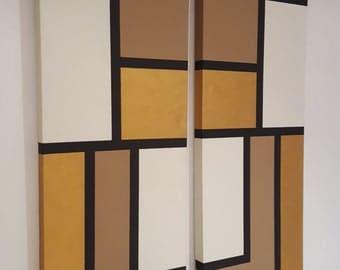 "Acrylic Minimal Wall Art (45""x 15"") (2 panel)"