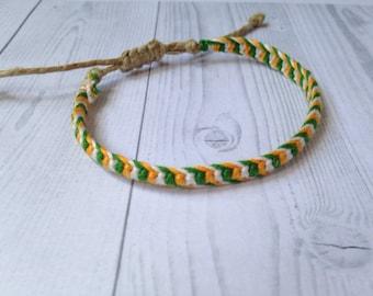 Irish, St. Pattys Day, Alternating Half Knot Adjustable Macrame Bracelet