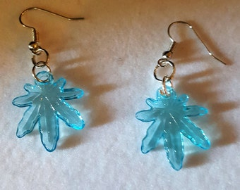 Pot Leaf Earrings (BLUE)