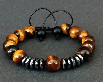Brown Tiger Eye Bracelet, Mens Bracelet, 10mm Tiger Bracelet, Men's Jewelry, Shamballa, Hematite Bracelet, Mens Tiger Eye Bracelet,Mens Gift