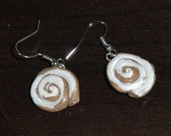 Glazed Cinnamon Bun Polymer Clay Earrings