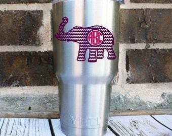Chevron Elephant Monogram Decal - Elephant Yeti Monogram Decal - Elephant Monogram Cup Decal -  Elephant Monogram Car Decal