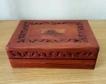 Cherry Wood Vintage/Antique Carved Jewellery Box Trinket Keepsake Box