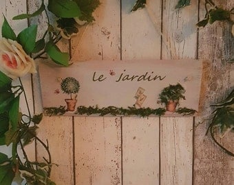 Rustic Le Jardin 3D Shabby Chic Garden Sign Plaque Decor Flowers Herbs Wooden