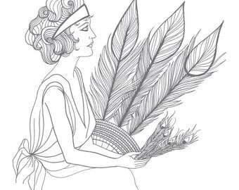 Prohibition: Bespoke 1920's printable colouring pages