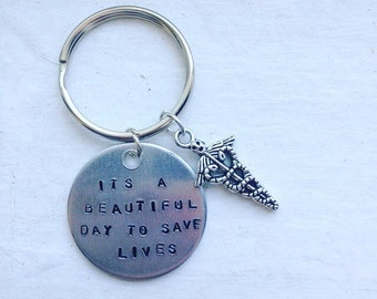 Its A Beautiful Day To Save Lives Greys Anatomy Keychain