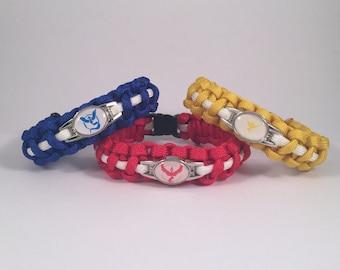 Pokemon Go Team Mystic Valor Instinct Paracord Bracelet