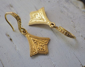 Small Gold Earrings ~ Gold Art Deco ~ Small Gold Dangle ~ Embossed Solid Brass ~ by WakesTheDawn