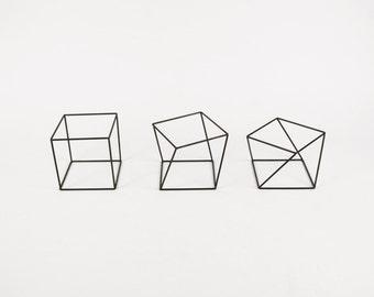 Twist Cube Set of 3 - Handmade Wireframe Decor - JY DesignLab