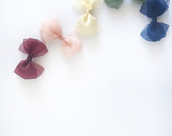 004] sheer hair bows with fall colours for baby/toddler/kids
