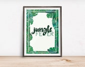 Displays Jungle Fever, tropical, jungle, green, illustration and typography tones
