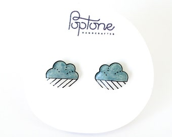 Cloud Earrings, Raincloud earrings, cloud studs, raindrop, rain cloud jewelry